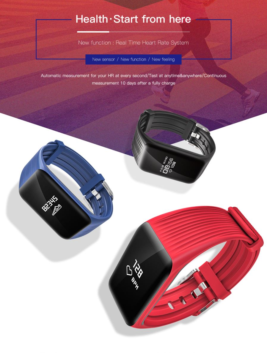 K1 Smart Bracelet Bluetooth Waterproof Heart Rate Monitor