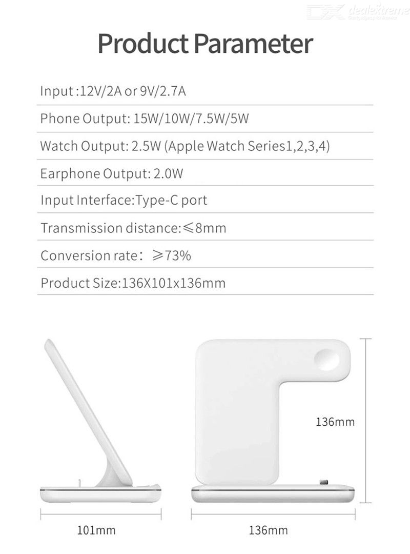 3 in 1 Qi Wireless Charger Stand for Apple Watch 6 5 4 3 2