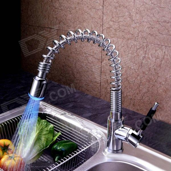 kitchen water faucet cabinet lighting ideas rgb led light temperature visualizer tap with ceramic valve