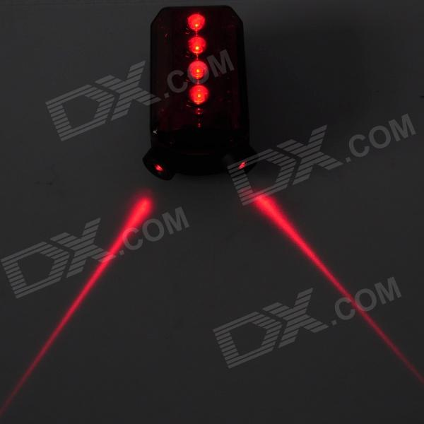 3-Mode 4-LED Red Laser Bicycle Cycling Rear Tail Light - Red + Black (2 x AAA)