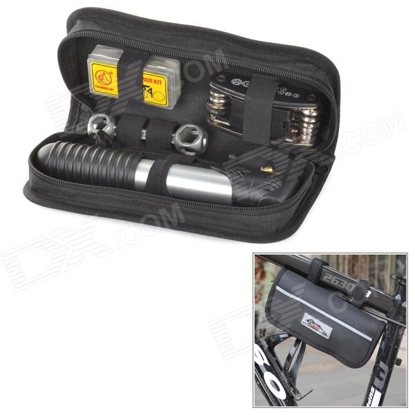 JUST BIke Bicycle Repair Air Pump + Tire Patches Tools Kit - Black