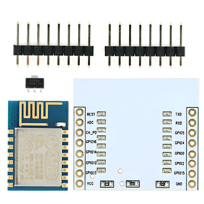 ESP-12 ESP8266 Serial WiFi Wireless Module w/ PCB Antenna + Adapter Board for Arduino / Raspberry Pi ESP8266 ESP-12 WIFI Industrial stable version Full IO leads ESP8266 ESP-12 WIFI Industrial stable version Full IO leads sku 379296 1