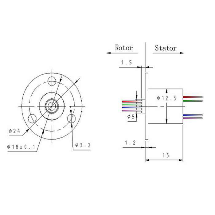 4 Wire 1.5A 240V D12.5mm Micro Capsule Slip Ring for