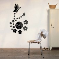 Butterfly and Flower Wall Clock 3D Mirror Sticker Wall ...