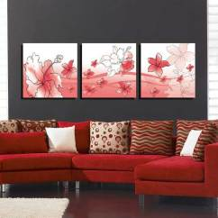 Frames For Living Room Walls Designing Small Apartment Rooms Bizhen Flowers Painting Canvas Wall Art Picture Red 3pcs Free Select Regional Settings