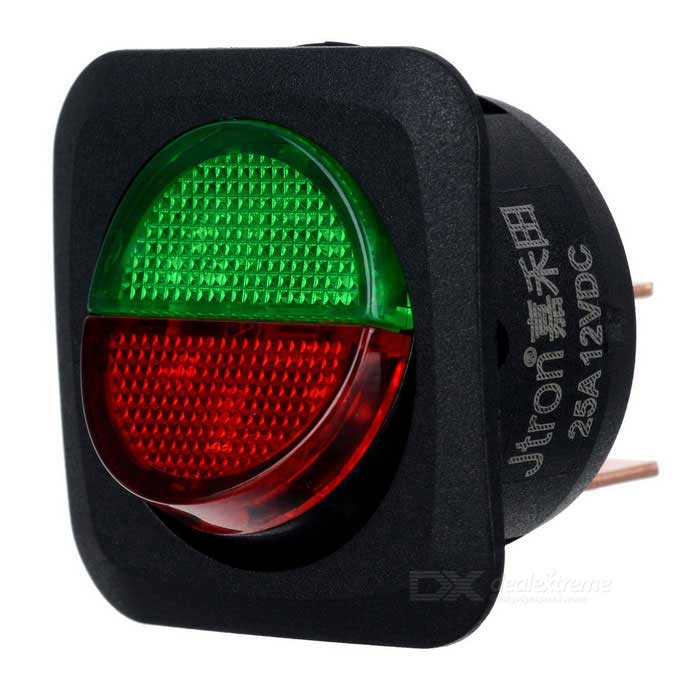 12v Round Black Rocker Switch Green Led 6quot Wire On Off 12v Illuminated