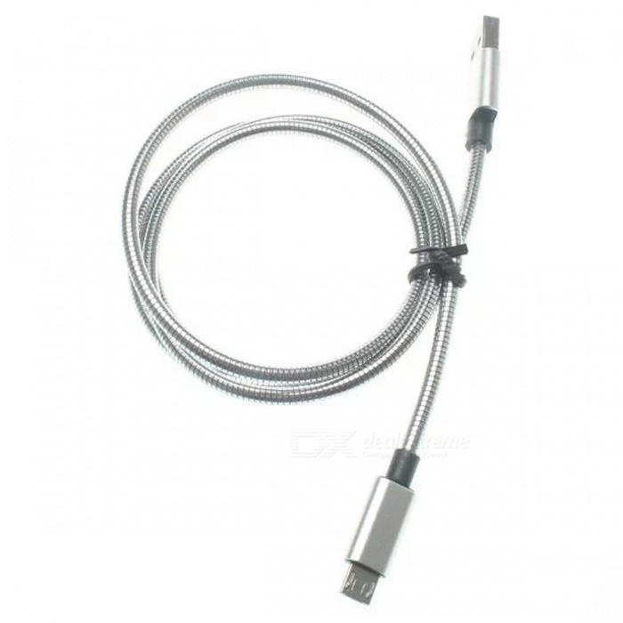 Stainless Steel Spring Micro USB Male to USB Male Charging