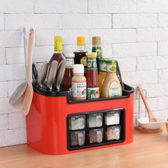 Kitchen Spice Rack Dual Trash Can Pp Seasoning Cans Knife Chopstick Shelf Condiment Bottles Pepper Shakers Box Storage Hook Army Green