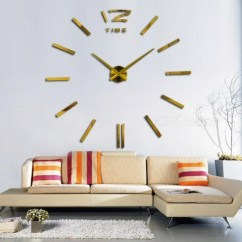 Big Wall Clocks For Living Room Small Fireplace Ideas 3d Real Clock Rushed Mirror Sticker Diy Home Decor Fashion Watches Arrival Quartz 47inch Gold Free Shipping