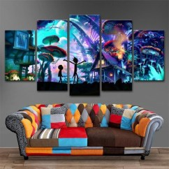 Paintings For Living Room Furniture Sets Under 500 Canvas Wall Art Modular Pictures Home Decor 5 Panels Rick And Morty Hd Printed Animation Posters Framework No Framed 20x35 20x45