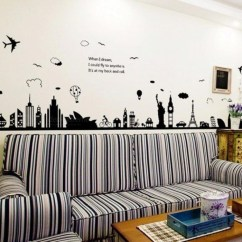 Living Room Set Diy Small Ideas Wooden Floors Eiffel Tower Sydney Greek City Building Wall Stickers Background Decor Mural Decal Wallpaper Worldwide Free Shipping