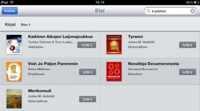 Finnish ebooks at the Apple iBookstore
