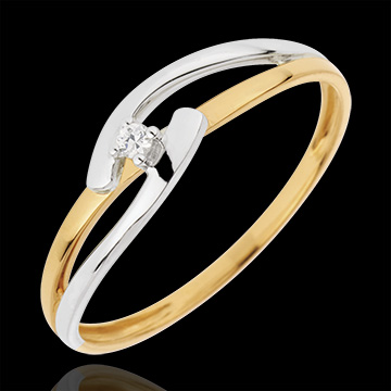 Solitaire Ring Precious Nest  Bicolor Union  yellow gold and white gold  002 carat  18