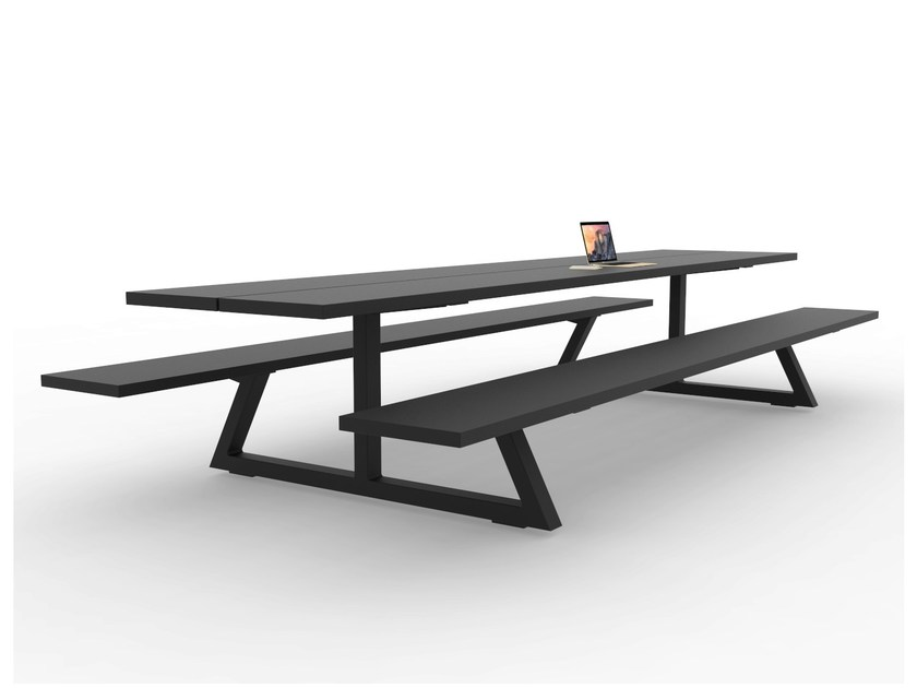 Rectangular picnic table with integrated benches
