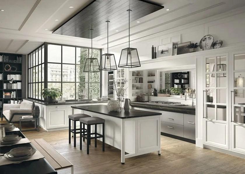 Cucina componibile in stile moderno con isola con maniglie