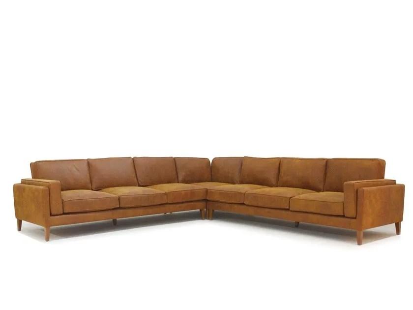 50s style corner modular leather sofa