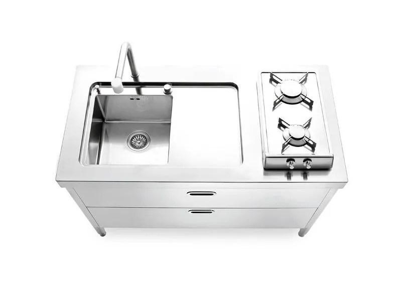 Modulo cucina freestanding in acciaio satinato CUCINE 130  ALPESINOX