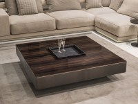 Square wooden coffee table with tray for living room ...