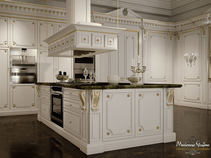 Lacquered custom solid wood kitchen with island ROMANTICA