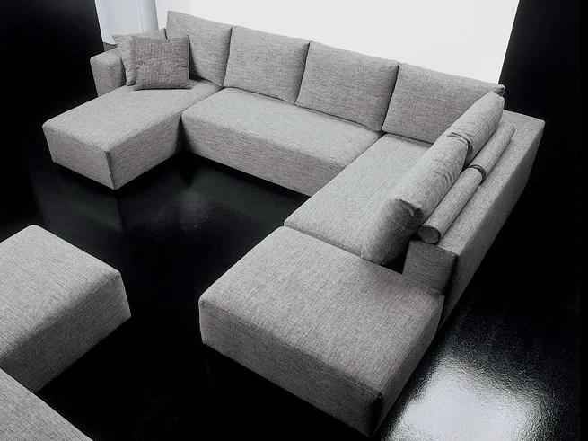 Divano angolare in tessuto con chaise longue SQUARE  Divano a 6 posti  Diemme