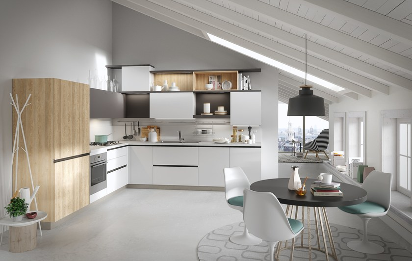 Fitted kitchen with integrated handles JOY By Snaidero