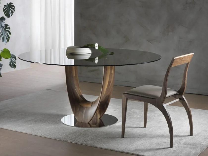 Tavolo rotondo in legno e vetro AXIS  Tavolo rotondo