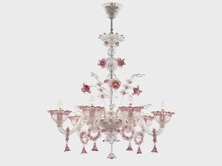 Sogni di cristallo® lampadario vetro soffiato veneziano ermes rosa, 3 luci, montatura oro. Lampadario In Vetro Di Murano Apollo Lampadario Sogni Di Cristallo