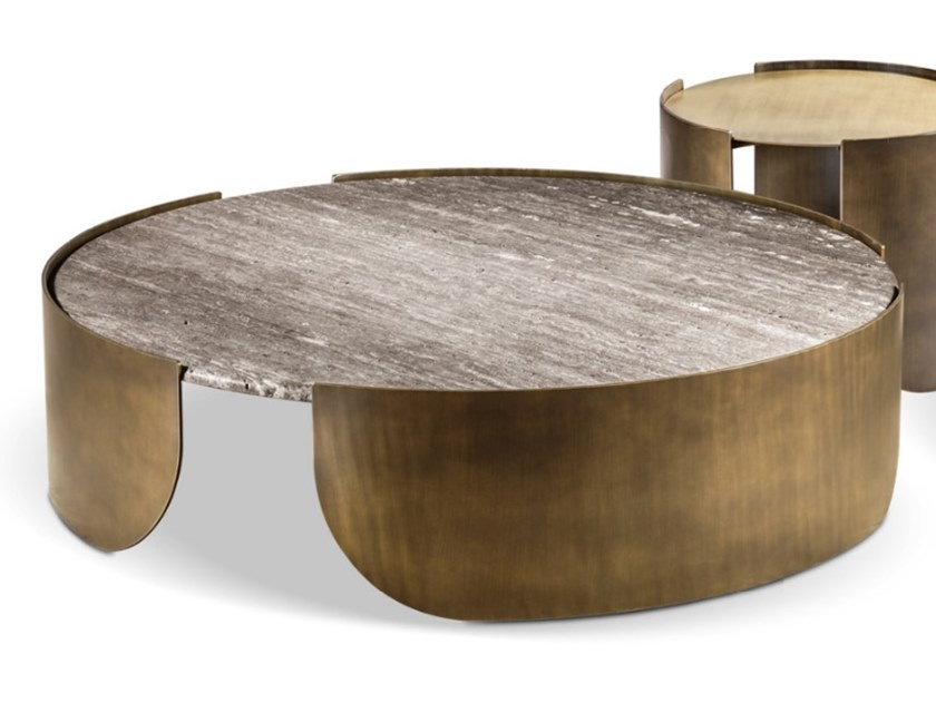round marble and metal coffee table