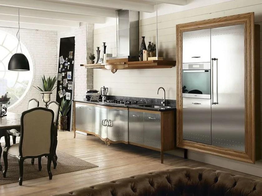 Cucina componibile in acciaio inox e legno DECHORA
