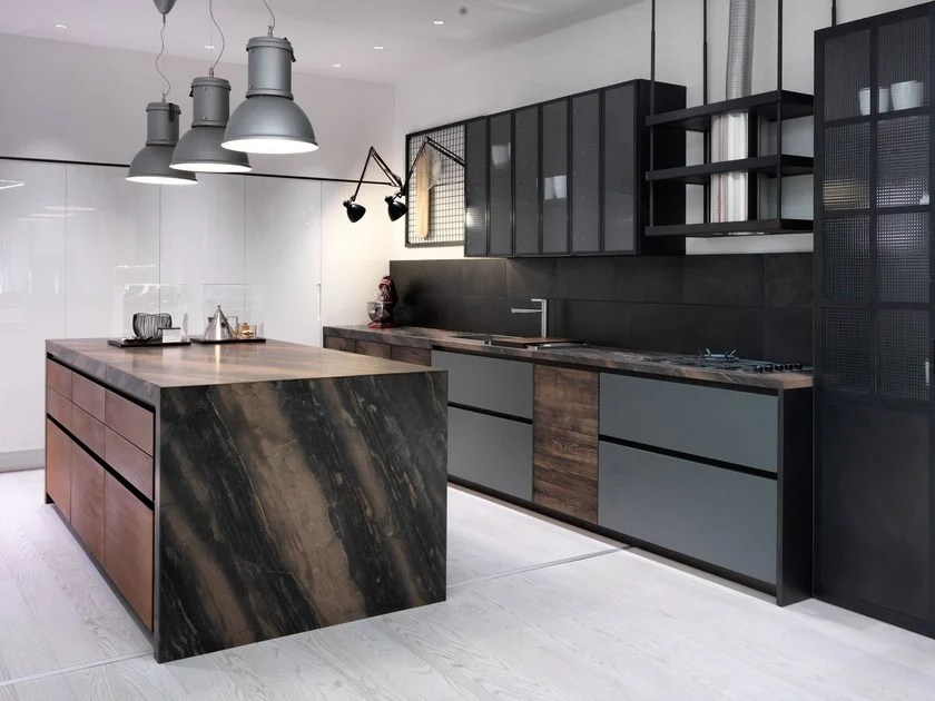 FACTORY  Kitchen with island Factory Collection By Aster Cucine SpA design Lorenzo Granocchia