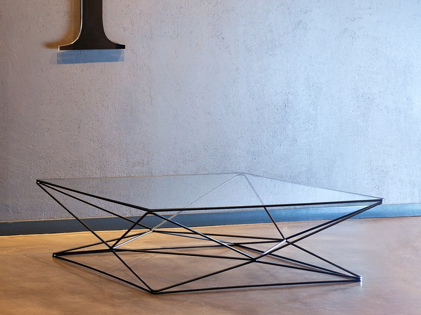 low square glass and steel coffee table