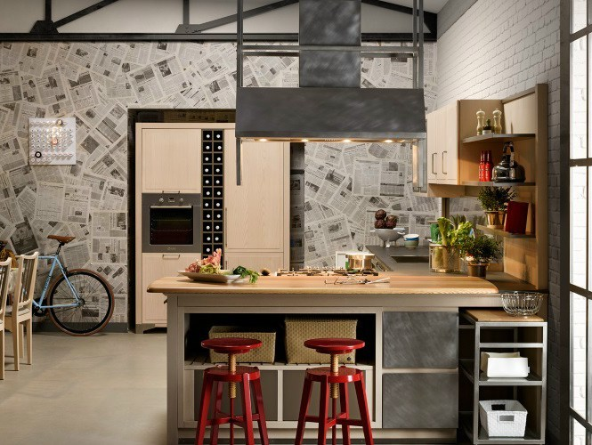 Ash kitchen with island INDUSTRIAL CHIC SAHARA By LOttocento