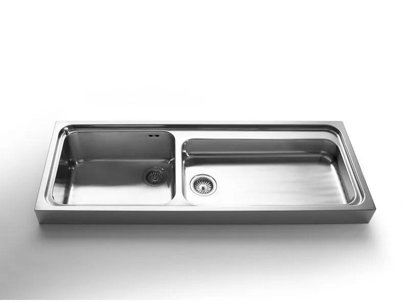 Lavello a 2 vasche appoggio in acciaio inox in stile moderno con getti LAVELLI APPOGGIO