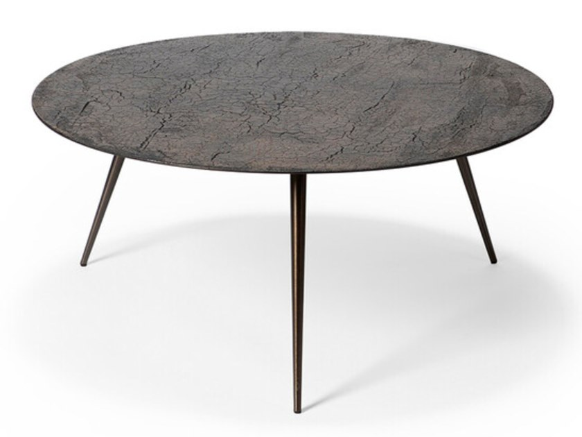 low round metal coffee table luna by