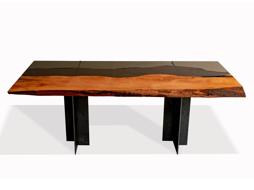 rectangular pear wood and glass table