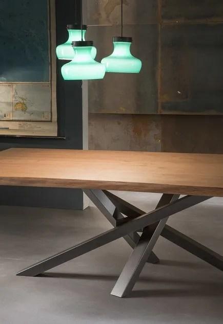 SHANGAI  Tavolo in acciaio inox e legno By RIFLESSI