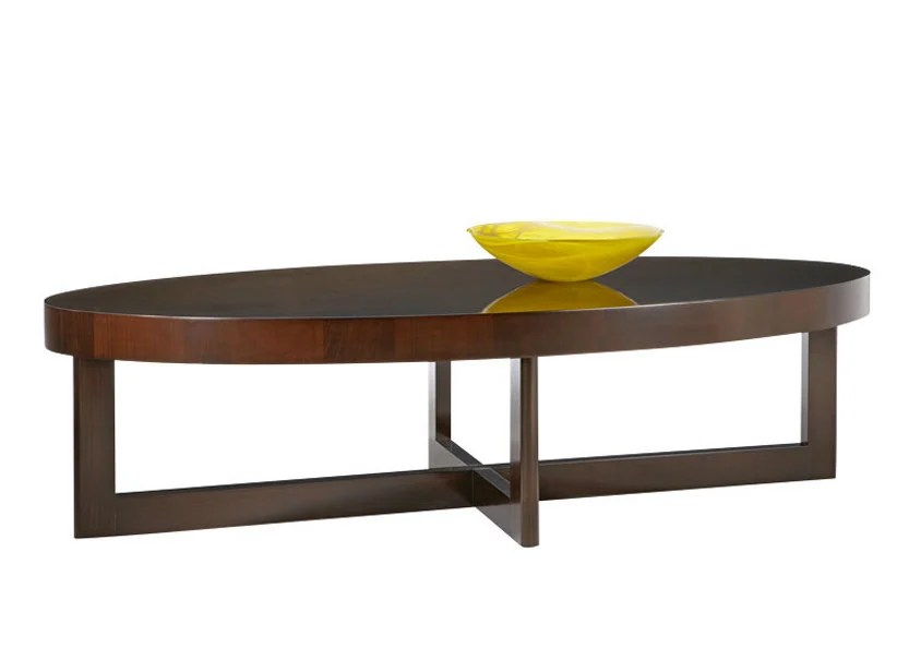 oval wooden coffee table for living