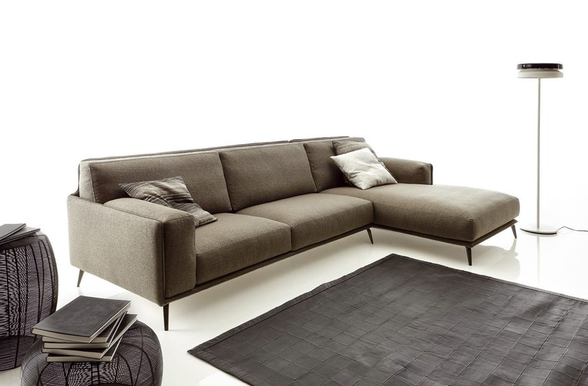 Leather Fabric Sectional Sofa
