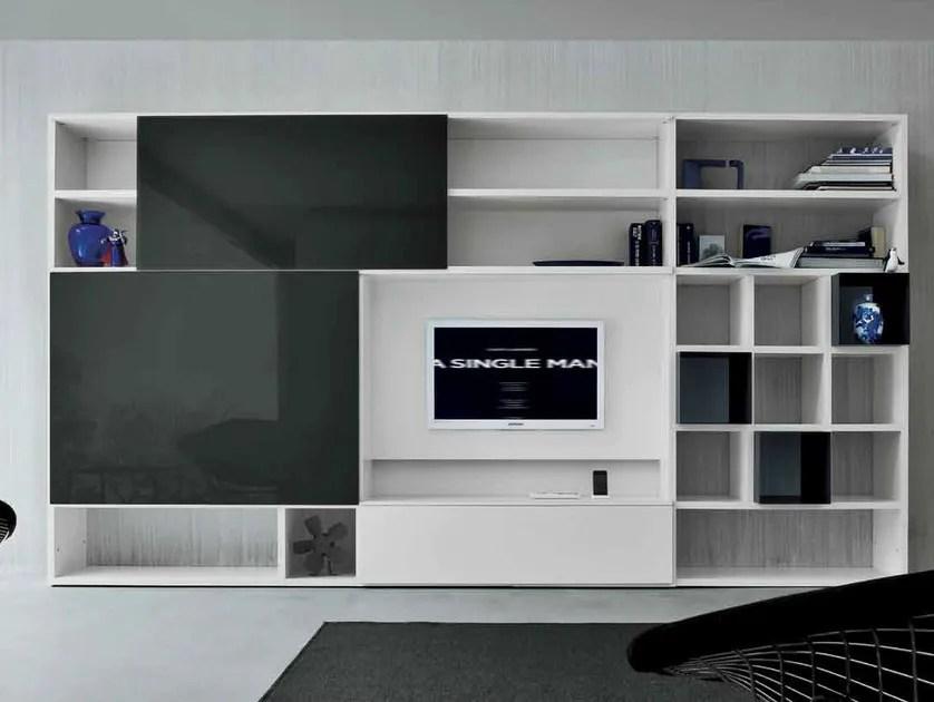 Mueble modular de pared lacado con soporte para tv SPEED D