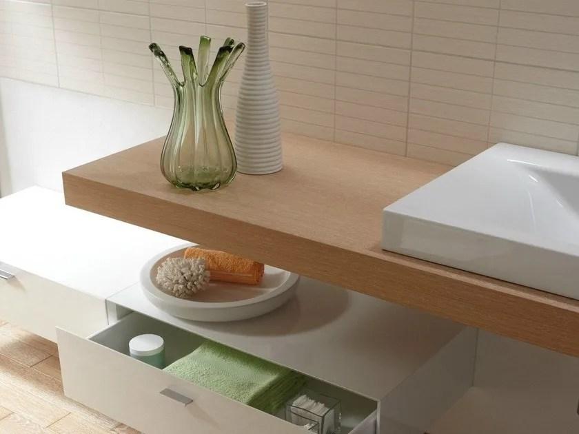 Piano lavabo singolo in legno BETTEROOM TRGERPLATTE  Bette