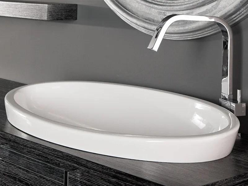 Lavabo da incasso soprapiano ovale in ceramica SFERA