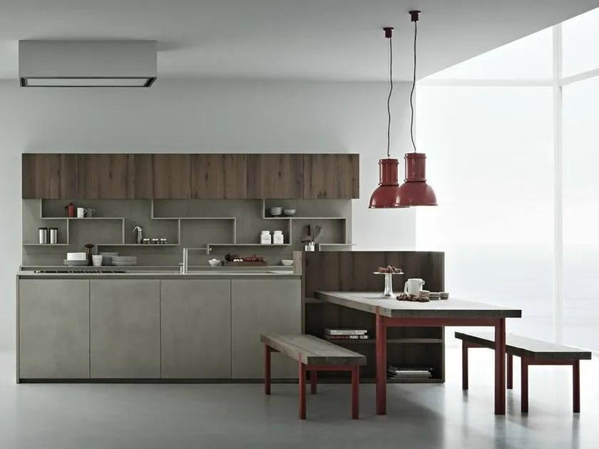 Cucina in resina di cemento con isola LINE K  Cucina con