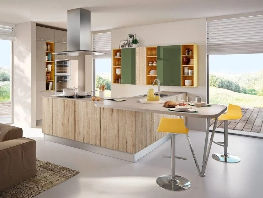 SWING  Cucina con penisola By Cucine Lube