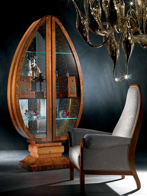 CHERRY WOOD DISPLAY CABINET UOVO MILLENNIUM MILLENNIUM COLLECTION BY CARPANELLI CLASSIC