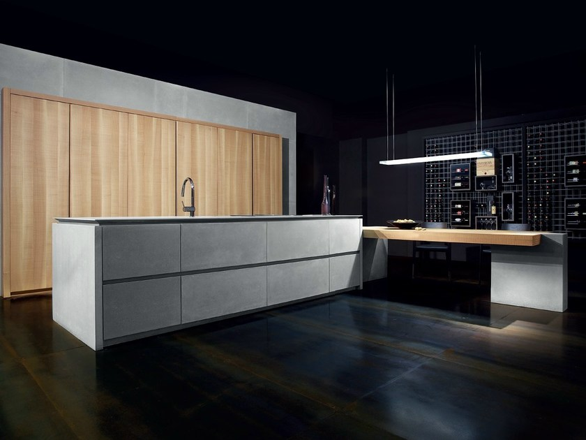 Cucina in cemento con isola WIND FRENCH GRAY By TONCELLI CUCINE