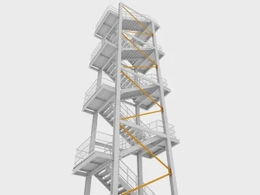 Metal Fire Escape Stairs Fire Escape And Safety Stairs | External Metal Fire Escape Stairs | Metal Railings | Stock Photo | Stair Railing | External Spiral Staircase | Fire Safety