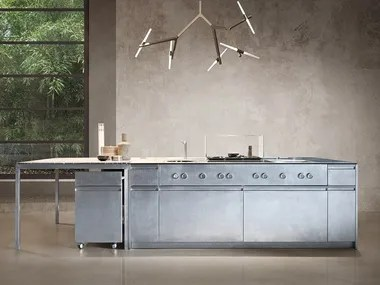 stainless kitchen microwave steel and wood kitchens archiproducts fitted with island monolit 45 hand brushed