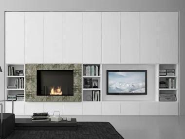 Creare una parete o interparete soggiorno con camino e tv integrato,. Pareti Attrezzate Stile Moderno Con Camino Archiproducts