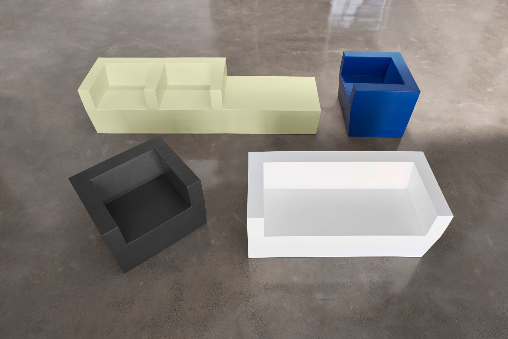 foam block sofa bed bar table behind 150 collection by stratta design jorge herrera