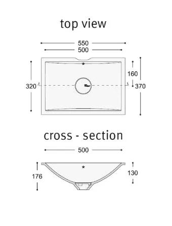 Countertop rectangular Corian® washbasin Corian® REFRESH